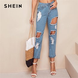 2bcca91b92 SHEIN Blue Destroyed Ripped Detail Cut-out Crop Jeans Women Spring Casual Denim  Trousers Steetwear Solid Pencil Pants Jeans discount cut out ripped jeans