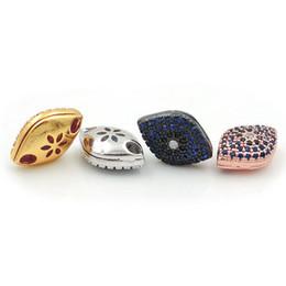 6 мм микро шарики онлайн-13 * 10 * 6 мм Micro Pave BlueBlack CZ Eye Плоские Бусины, Пригодные Для Изготовления DIY Браслеты или Ожерелья Ювелирные Изделия