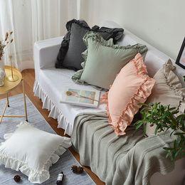 Travesseiros cinza verde on-line-45/50/60 cm rosa / branco / verde / cinza / cáqui princesa lotus lace frill capa de almofada lance fronha lumabr travesseiro capa encosto
