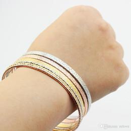 2020 conjuntos sólidos de pulseiras de ouro 2018 Novo Atacado baratos Sólidos Jóias Ouro Prata Bangle pulseiras Set grosso-e-fino conjuntos sólidos de pulseiras de ouro barato
