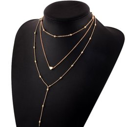 Многоцелевое ожерелье из бисера онлайн-New Fashion Gold Color Multi-layer Bead Chain Long Heart Pendant Necklace for Woman