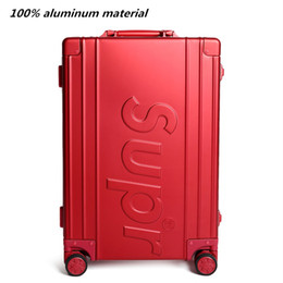 carrello portabagagli viaggio Sconti tutto bagaglio da viaggio con ruote in alluminio, valigie in materiale opaco con ruota, nuova scatola da trasporto rossa, custodia per trolley da 20