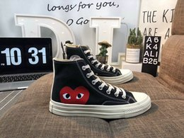 tops classiques en toile Promotion 2019 New Chuck Chaussures des années 1970 Classic Canvas Casual Play Jointly Big Eyes High Top qualité Dot Heart CDG Femmes Hommes Designer Sneakers 35-44