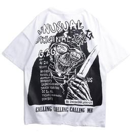 L facas on-line-2019 Harajuku T Shirt Crânio Faca Hip Hop Tshirt Dos Homens Streetwear Verão Tops Tees HipHop T-Shirt De Grandes Dimensões de Algodão de Manga Curta