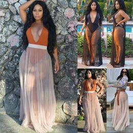 2019 copertine classiche di caramelle Estate sexy delle donne Swimwear Bikini Cover Ups Chiffon Sheer Beach Wrap gonne lunghe Sarong Pareo Split Beach Maxi Wrap Gonne