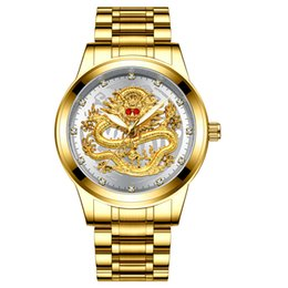2019 рубиновые часы 2019 топ мужчины золотой дракон часы рубин из нержавеющей стали кварцевые мужские модные бриллианты часы человек бизнес часы дешево рубиновые часы