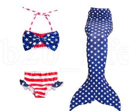 Costumes de queue en Ligne-Queues de sirène pour costumes de natation costume Amérique filles sirène Party Bikini maillot de bain plage swimmable porter 3 pcs 1set LJJK1536