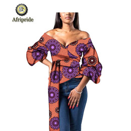 clothes sex for women Coupons - 2019 AFRIPRIDE african clothes for women free shipping new fashion design bazin riche plus size deep V-neck sex party S1924002