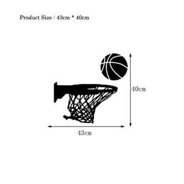 Pegatina removible de baloncesto online-Creativo aro de baloncesto pegatina de pared sala de estar para decoración del hogar calcomanías de arte PVC extraíble deportes pegatinas de borde de pared