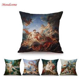 yellow black white cushion covers Promo Codes - Renaissance Rococo Court Luxury Francois Boucher Oil Painting Sofa Throw Pillow Case Vintage Home Decorative Cushion Cover