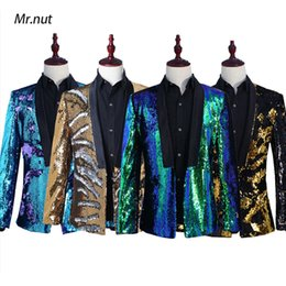 Costume vert brillant pour homme en Ligne-Hommes Élégant Double Conversion De Couleur Brillants Sequins Blazer Costume Veste Costume De Mariage Veste Outfit Bleu Or Noir Vert Blazers