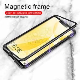 cubierta de metal huawei Rebajas Estuche rígido de metal de adsorción de imán magnético 360 para iPhone X 8 Plus 7 6 6S + cubierta trasera de vidrio para Huawei P20 P20lite