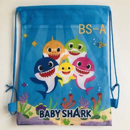 Bonitos mochilas anime on-line-New cute little shark bebê dos desenhos animados feixe de bolso cordão mochila homens e mulheres pupilas saco de escola leve saco de pano