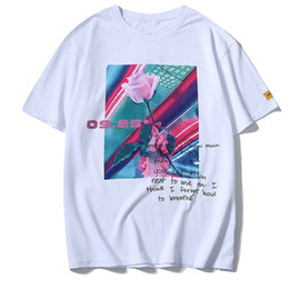 summer shirts designs flowers print Promo Codes - Flower Print Cotton Streetwear 2019 Summer New Design Casual T-shirts Harajuku Short Sleeve Hip Hop O-neck Tees Shirts