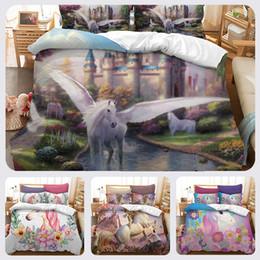 2019 folhas planas de animal print Impressão 3d unicórnio crianças conjunto de cama dos desenhos animados unicórnio colcha capa de edredão com fronha