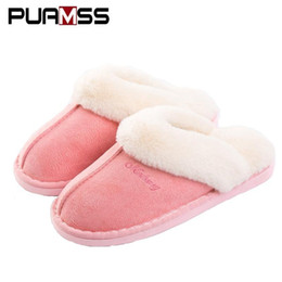 Zapatillas de oveja online-Mujeres de invierno cálido zapatillas Ful Zapatillas de mujer Zapatillas de algodón Amantes de las ovejas Zapatillas de casa de tamaño de felpa interiores Mujer al por mayor