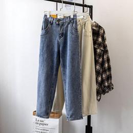 le donne blu chiaro allentano i jeans Sconti `S delle donne il formato allentato Jeans Loose Women Vintage Light Blue boyfriend jeans Denim Pantaloni