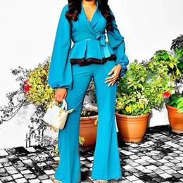 peplum pants suits Sconti Lace Up manica lunga Peplum top e pantaloni a due pezzi set modo delle donne signore dell'ufficio Business Interview Suit Set 2 pezzi Outfits