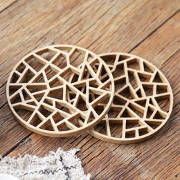 Assiette rustique en Ligne-Set de table rustique en bambou creux plaque ronde sur pad isolant chaud tasse pot tapis vintage cuisine accessoire de cuisine déco