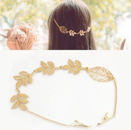 Moda hoja de oro joyería de la boda hoja de la aleación de la venda de los hairbands mujeres niñas hojas huecas accesorios para el cabello cintas para el cabello con pinzas para el cabello desde fabricantes