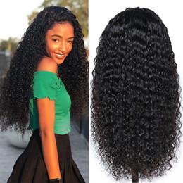 радужные человеческие волосы Скидка Kinky завитые парики 18 дюймов длинными вьющимися Волнистые Non парики шнурка Natural Color High Temperature Synthetic парики для чернокожих женщин 130% Плотность