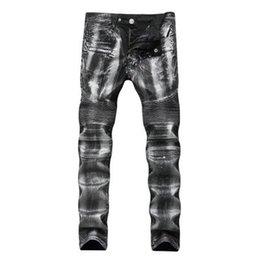 2019 hip hop meio lavagem jeans Homens Jeans Hi-Street Slim Fit Zipper Jeans Hip meio de homens Hop Denim Corredores Lavado Destruído Jeans desconto hip hop meio lavagem jeans