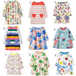 Tierdruck baby mädchen kleider online-Baby Mädchen Blumen Tierdruck Kleid Frühling Herbst Kinder Floral Prinzessin Kleider Baumwolle Kinder Kleidung 9 Farben C2594