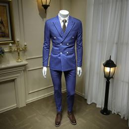 2019 blazers homens europeus XM geeki europeu e cavalheiro americano céu azul trespassado dos homens ternos britânicos negócios vestido listrado terno blazer 365wt43 desconto blazers homens europeus