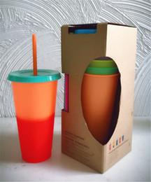 Retails Color Changing Cup Plastics Riutilizzabile Cold Cup Tazza da caffè e da tè Grande capacità con coperchio Straw 700ml 5 colori da contenitori di bellezza di bellezza all'ingrosso fornitori