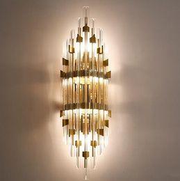 Роскошный благородный современный минимализм светодиодные настенные светильники творческий Кристалл американский европейский проход фон настенные светильники кровать глава спальня настенное освещение от Поставщики европейские кровати