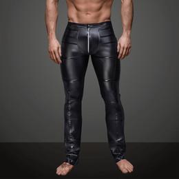 2019 pantalones ajustados de piel sintética para hombre Pantalones largos exóticos para hombre delgado Faux Leather Wet Look negro Largo Johns Men Club Bailarín Pantalones pitillos Fetish Gay Tight Pants S-XXL pantalones ajustados de piel sintética para hombre baratos