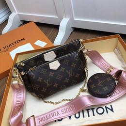 2019 sacos de designer marrom escuro Designer Handbag ajustável Shoulder MULTI POCHETTE ACESSÓRIOS Bolsa de luxo 3-Piece Moda Womens Shoulder Bag Novo Luxo Bag