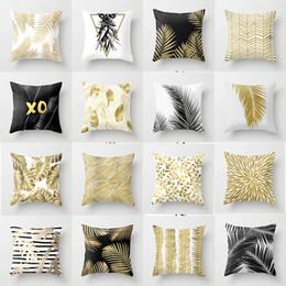 2019 almofada de malha cobre padrões Nordic folha de ouro travesseiro pêssego poliéster tampa almofada do sofá cobre atacado casa lance travesseiro almofada de luxo