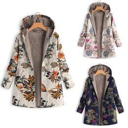 Maglioni di lino online-Cotone e maglione Lino peluche Giacca donna Giacca donna Stampato con cappuccio in cotone e lino Maglione peluche