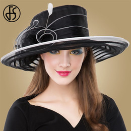 2019 piume nere per cappelli VES Cappello nero per donna Elegante 2018  Cappelli a tesa larga e3827aeafe55
