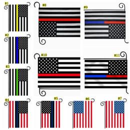 bandiera americana blu Sconti 30 * 45cm BlueLine USA polizia Bandiere decorazione del partito Thin Blue Line USA Flag Blackwhite blu e American Flag Giardino Bandiera MMA1798-6