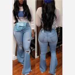 plus hohe taillenglockeböden Rabatt 2019 New High Waist Flare Jeans Schwarz Bell-Bottom Ripped Female Jeans für Frauen-Denim-dünnen Mom Wide Leg Plus Size Pants