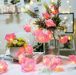 Valentine levou on-line-LED Rose Flower Fairy String Lights Lamps Valentines Day Xmas Love Gift Home Wedding Bar Party Decoration GGA1514