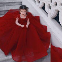 kinder-feder-spitzenkleider Rabatt Rote Blumenmädchenkleider Hochzeits-Spitze-Ballkleid-Geburtstags-Party-Mädchen-Festzug-Kleid-Feder-Kinder-Ballkleider
