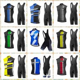 2019 gigante ciclismo jersey completo set GIGANTE equipe Ciclismo Sem Mangas jersey Vest conjuntos de bermudas homens verão confortável zíper completo ao ar livre esportes terno Q62110 gigante ciclismo jersey completo set barato