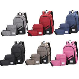 Conjunto de bolsa de peça on-line-Pacote de computador de três peças Set 6 Design Patchwork bolsa de uma peça mochila sacos multifuncionais conjunto de volta à escola senhora ombros mochila