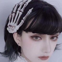Скелетные скобы для волос онлайн-DSstyles Мода Аксессуары для волос Женщин Punk Rock Halloween Cosplay партия Скелет руки Bone зажим для волос Большой Шпильки
