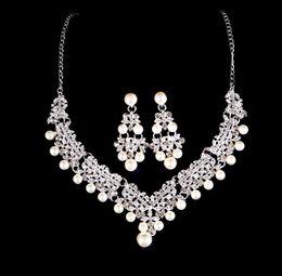 ensembles de bijoux de mariée bleu clair Promotion Bijoux de mode perle collier boucles d'oreilles Set femmes couleur Bohême Bib chaîne collier boucles d'oreilles ensembles de bijoux de mariée