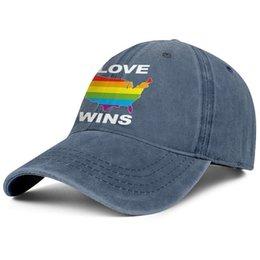 Adult Unisex Jeans Cap Adjustable Hat Colorful Heart Love Wins Cotton Denim