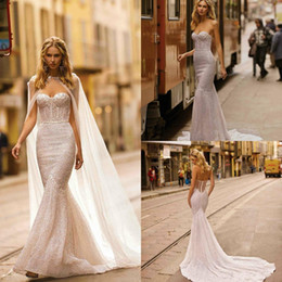 berta crystal wedding dress Promo Codes - Berta 2020 Mermaid Wedding Dresses with Wrap Sweetheart Lace Sequined Bridal Gowns Exposed Boning Sexy Beach Wedding Dress robes de mariée