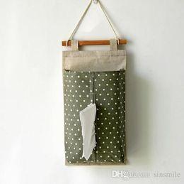 Atacado-CottonLinen Tecido Hanging Tissue Case Caixa de tecido do carro Home Storage Bag Tissue Cover 0678 de Fornecedores de caixas de armazenamento de tecido por atacado