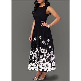 flare vestidos de flores Desconto Impresso Floral Vintage vestido longo elegante Mulheres de Verão sem mangas Zipper partido traseiro Vestidos Ladies Fit e reflexos maxi vestidos