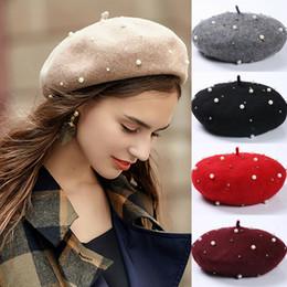Elegantes barett online-Vintage Wool Perle Beret Cap-Frauen-Hut Herbst-Winter-warmer Perlenstickerei Baret Caps Boina elegante weibliche Damen Feste Painter Hüte