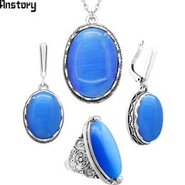 092bc60dd set necklace Anstory Natural Blue Opal Jewelry Set Necklace Earrings Rings  Flower Antique Silver Plated Stainless Steel Chain TS337