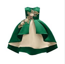 2019AAA princesse de la mode européenne robe arc fille fleur robe jupe or fil broderie fille coton robe 100-150 ? partir de fabricateur